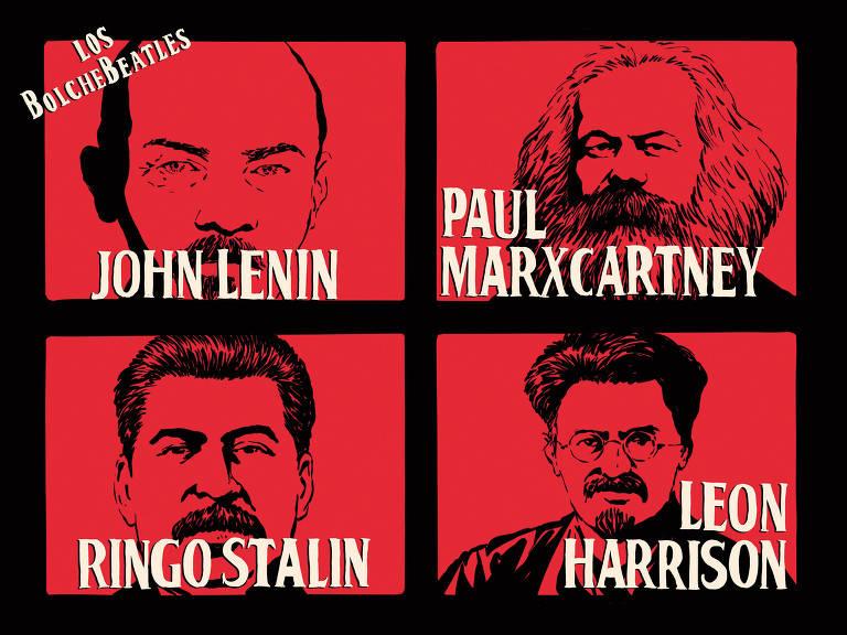 Meme mostra foto dos quatro integrantes dos Beatles com os seguintes nomes: John Lenin, Paul Marxcarney, Ringo Stalin e Leon Harrison