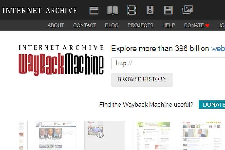 """Imagem mostra site """"wayback machine"""" e local onde estão botões para inserir o link e o botão """"browse history"""""""