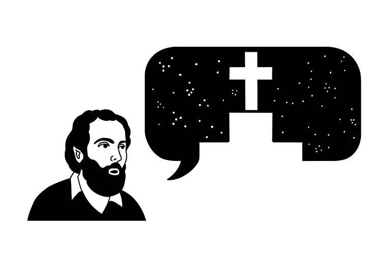 Ilustração mostra um homem jovem, de barba, com um balão de fala com um túmulo dentro.