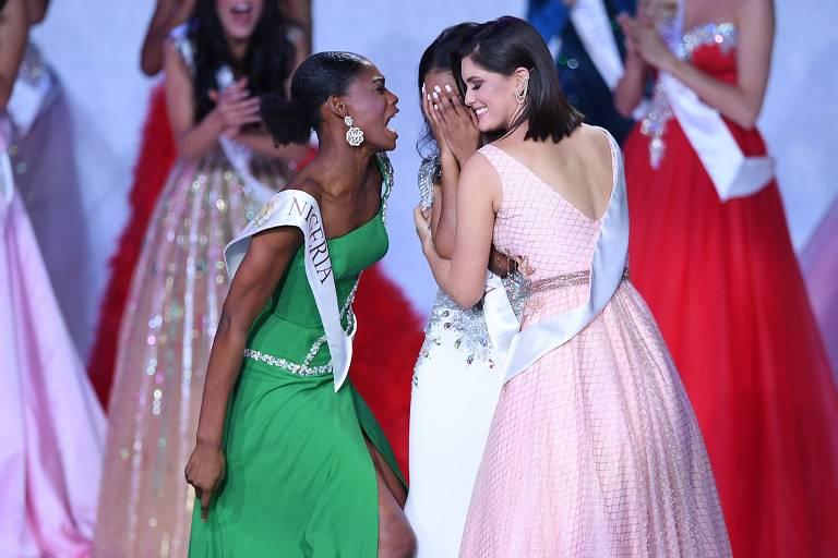 Miss Nigeria Nyekachi Douglas, Miss Brasil Elis Coelho e Miss Jamaica Toni-Ann Singh