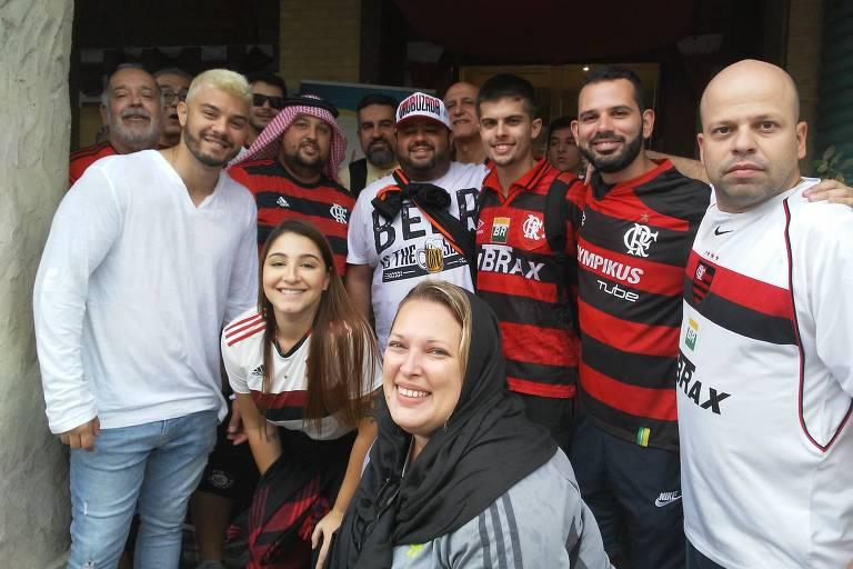 Torcedores do Flamengo em Doha, no Qatar, onde o time disputa o Mundial de Clubes da Fifa
