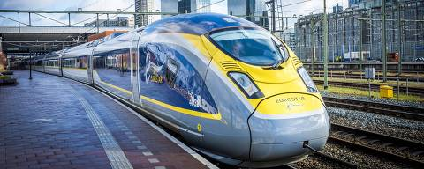 The Eurostar train arrives at Rotterdam Central Station, on February 1, 2018. 