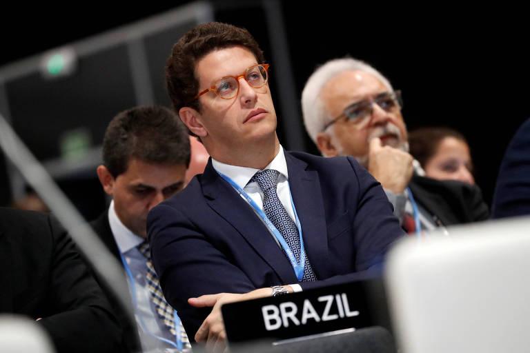 O ministro do Meio Ambiente, Ricardo Salles na COP25, em Madri