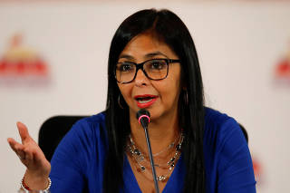 Delcy Rodriguez, President of the National Constituent Assembly talks to the media during a news conference in Caracas