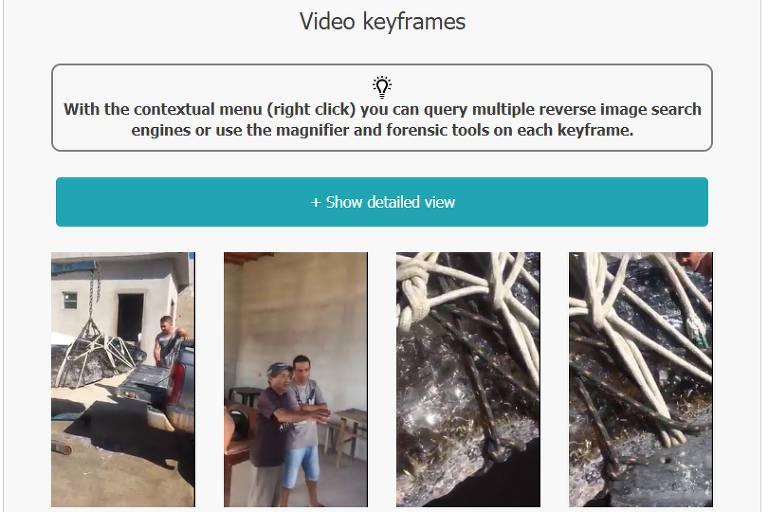 Imagem mostra ferramenta invid onde vídeo foi dividido em diversos frames, que podem ser usados para buscas na internet
