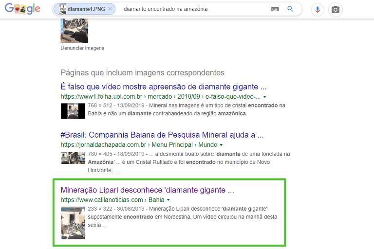 Imagem mostra resultado de busca do google, destacando o texto do site de notícias baiano mencionado no texto.