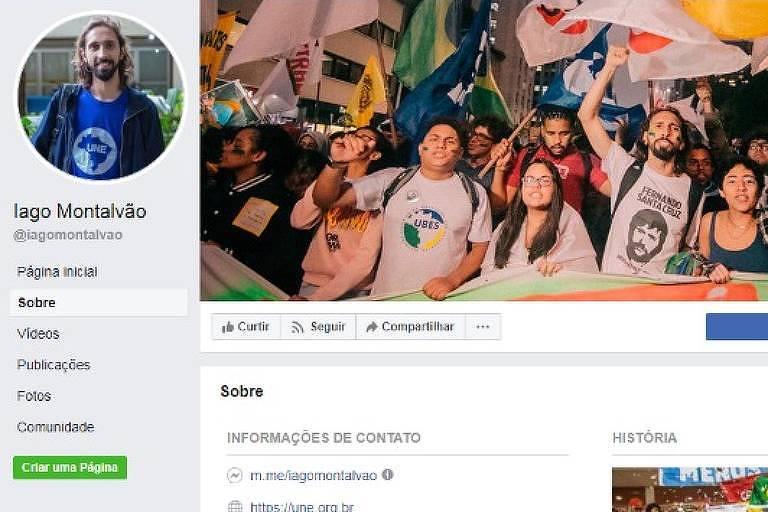 print das informações básicas no perfil de facebook do presidente da UNE
