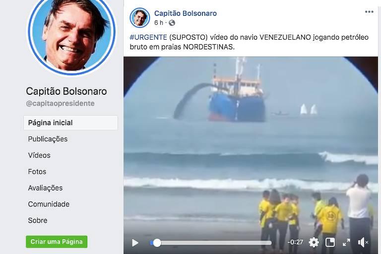 """Print de postagem na página de Facebook """"Capitão Bolsonaro"""", vídeo mostra ao fundo navio despejando jato no mar e crianças em primeiro plano, na areia observando."""