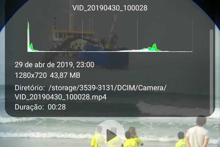 Imagem traz dados exif do vídeo, mostrando data, hora, local de armazenamento.