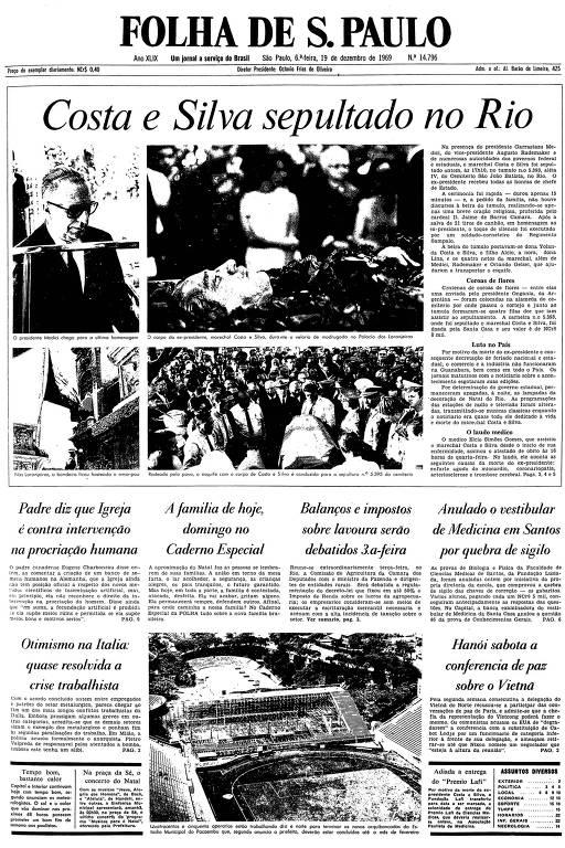 Primeira página da Folha de S.Paulo de 19 de dezembro de 1969
