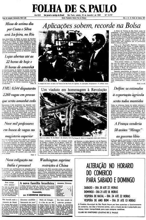 Primeira página da Folha de S.Paulo de 20 de dezembro de 1969