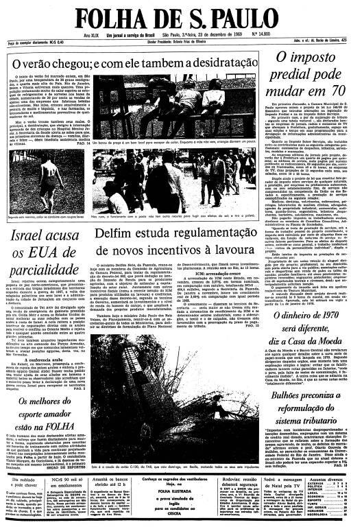 Primeira página da Folha de S.Paulo de 23 de dezembro de 1969