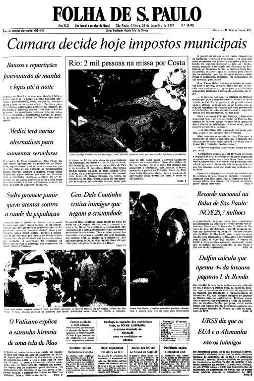 Primeira página da Folha de S.Paulo de 24 de dezembro de 1969