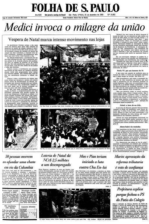 Primeira página da Folha de S.Paulo de 25 de dezembro de 1969