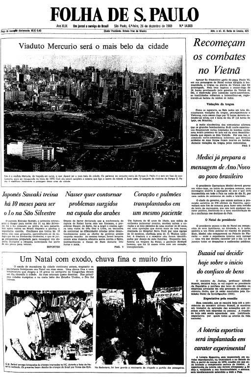 Primeira página da Folha de S.Paulo de 26 de dezembro de 1969