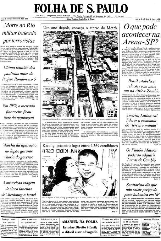 Primeira página da Folha de S.Paulo de 28 de dezembro de 1969