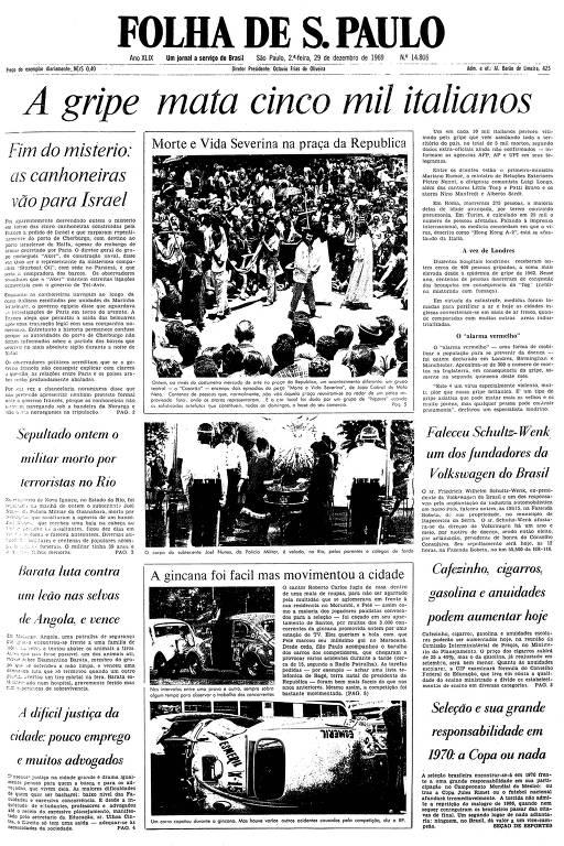 Primeira página da Folha de S.Paulo de 29 de dezembro de 1969