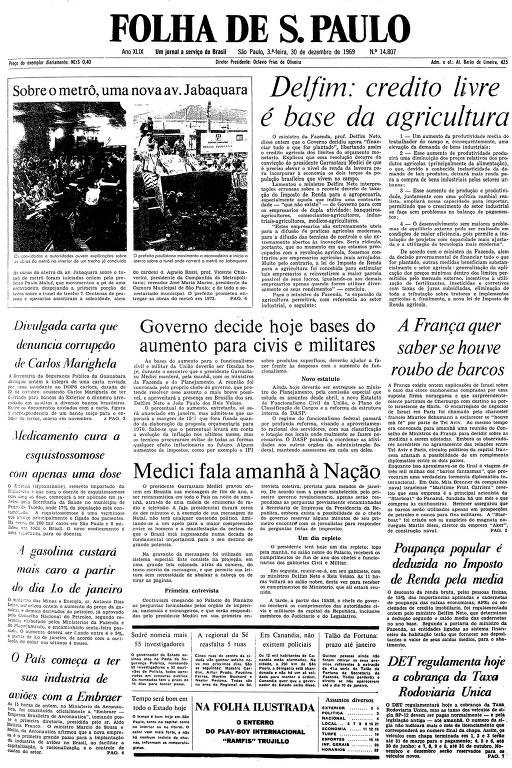 Primeira página da Folha de S.Paulo de 30 de dezembro de 1969