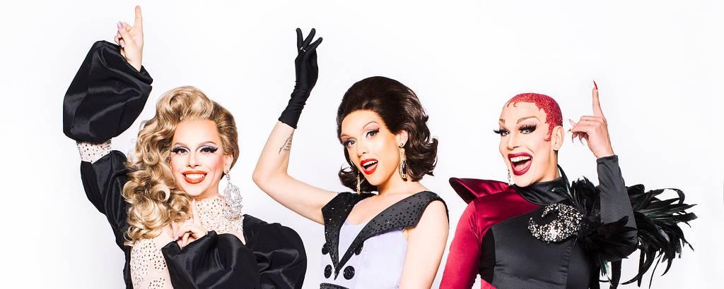 Penelope Jean, Rita Von Hunty e Ikaro Kadoshi, de Drag Me As a Queen