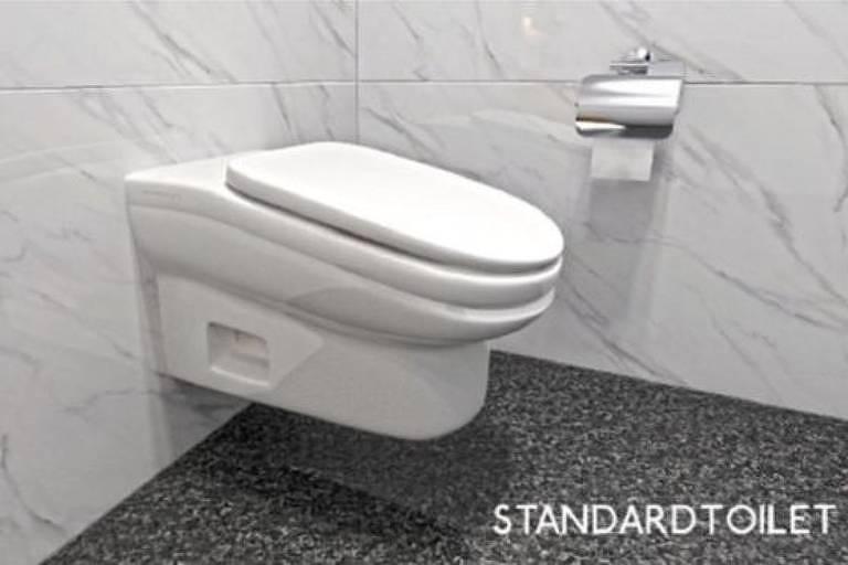 Intenção do vaso inclinado é causar desconforto e evitar que as pessoas fiquem muito tempo no banheiro