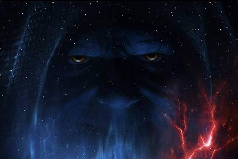 Palpatine aparece ao fundo, na parte superior de um pôster de 'Star Wars: A Ascensão Skywalker'
