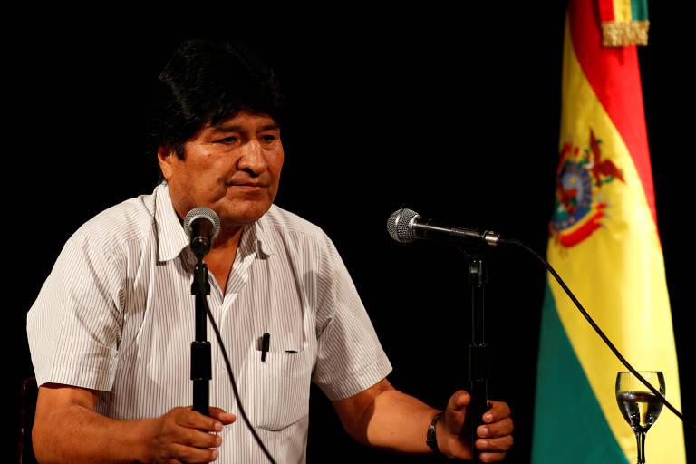 O ex-presidente boliviano Evo Morales durante entrevista coletiva em Buenos Aires