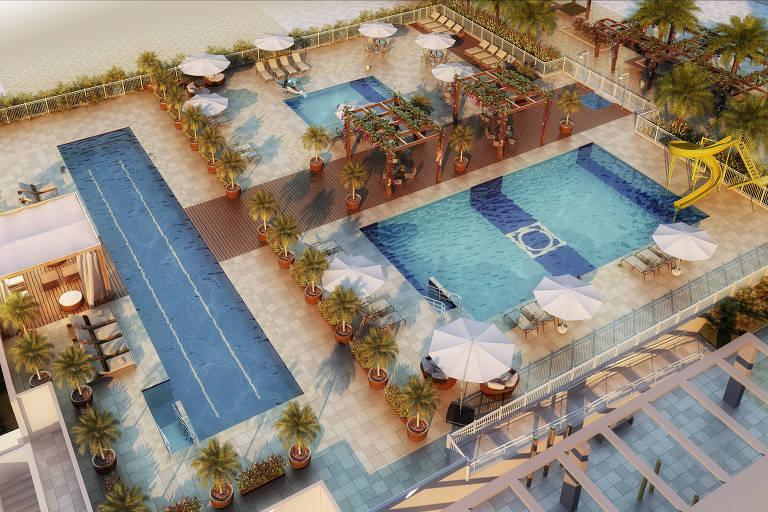 Ilustração do complexo de piscinas do empreendimento Way Orquidário, da Living, em Santos