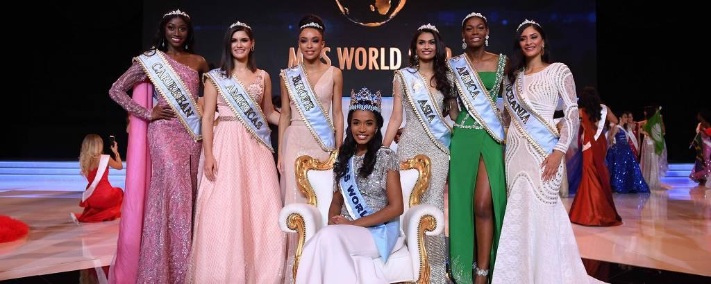 Jamaicana Toni-Ann Singh (no centro) eleita Miss Mundo; a brasileira Elis Miele aparece na foto como a segunda à esquerda
