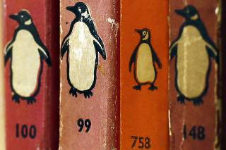 Penguin books are seen in a bookshop in central London