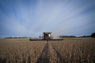 Soybeans are harvested from a field on Hodgen Farm in Roachdale