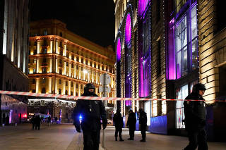Site of a shooting incident near the Federal Security Service (FSB) building in Moscow