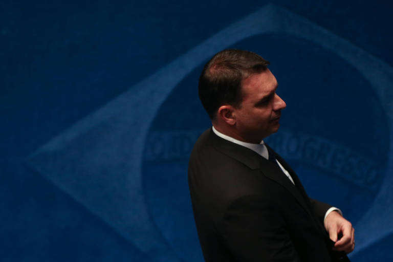 O senador Flávio Bolsonaro (sem partido-RJ)