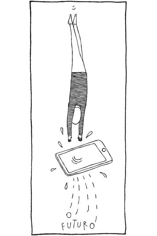 """Ilustração em linhas pretas. Uma pessoa mergulha em um celular. Algumas gotas e letras respingam para fora do aparelho. Lê-se """"o futuro"""" nas letras"""