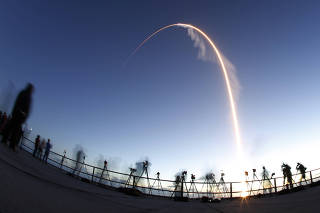The Boeing CST-100 Starliner spacecraft lifts off from launch complex 40 at the Cape Canaveral Air Force Station in Cape Canaveral,