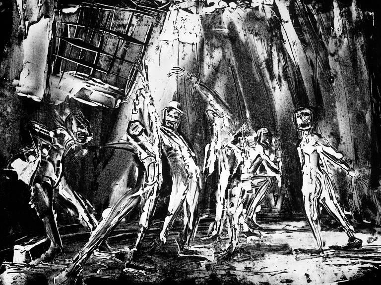 """A ilustração é uma gravura em branco e preto em que vemos personagens magros, de traços não realistas, meio estilizados, dançando num ambiente um pouco sombrio; a luz que há entra pelo teto e bate em diagonal sobre os dois personagens centrais; são os presos de """"Escritos da Casa Morta"""", clássico de Dostoiévski que ganha primeira tradução diretamente do russo, feita por Paulo Bezerra"""