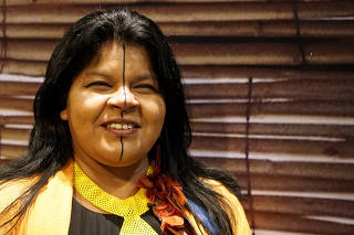 Indigenous Leader Sonia Guajajara of the Guajajara tribe is seen during an interview with Reuters during her European tour in Paris