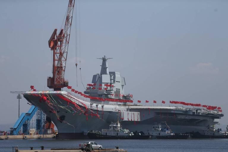 O novo porta-aviões Shandong, o segundo da China