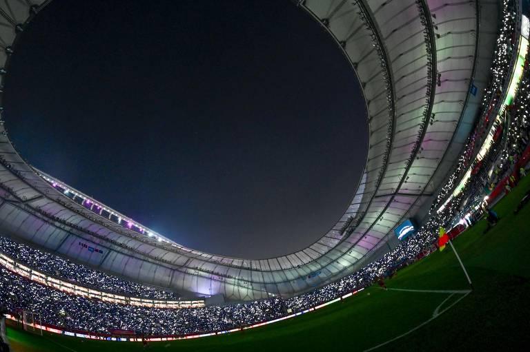 Estádio Khalifa antes da final do Mundial de 2019, entre Liverpool e Flamengo