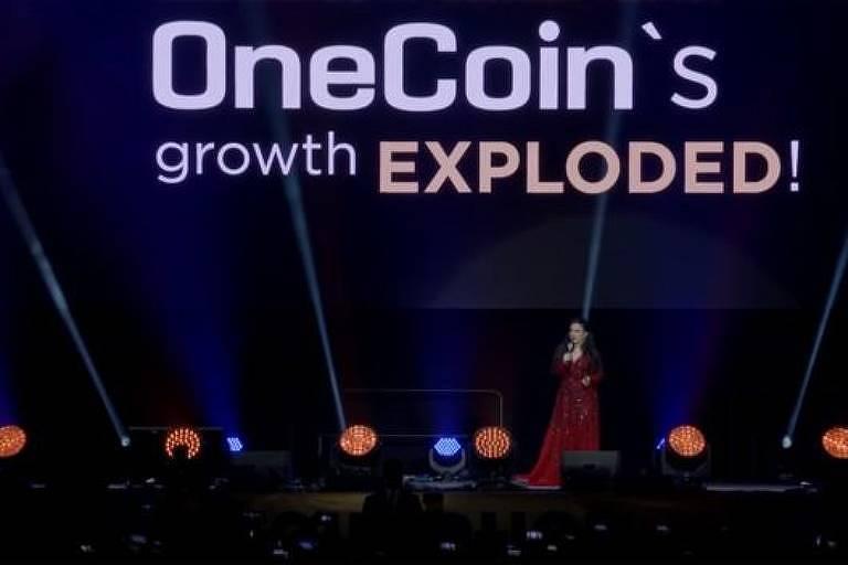 Ruja em apresentação em Wembley; ela prometia uma 'revolução financeira' com a OneCoin