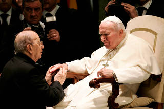 FILE PHOTO: Pope John Paul II (R) blesses Father Marcial Maciel, founder of the Legionaries of Christ,