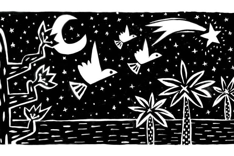 Ilustração em estilo semelhante a xilogravura em preto. É uma noite de lua minguante e uma estrela cadente passa pelo céu. Três pássaros voam e estão rodeados de cactos e palmeiras