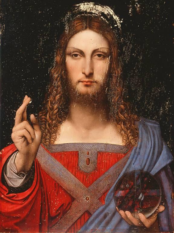 jesus segurando um globo e com a outra mão estendida à frente do corpo