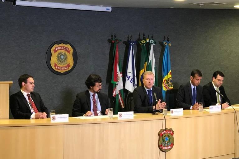 Coletiva da equipe da Lava Jato no Paraná após a deflagração da 70ª fase da operação, batizada de Óbolo, que trata de suposto esquema em contratos de afretamento de navios pela Petrobras.