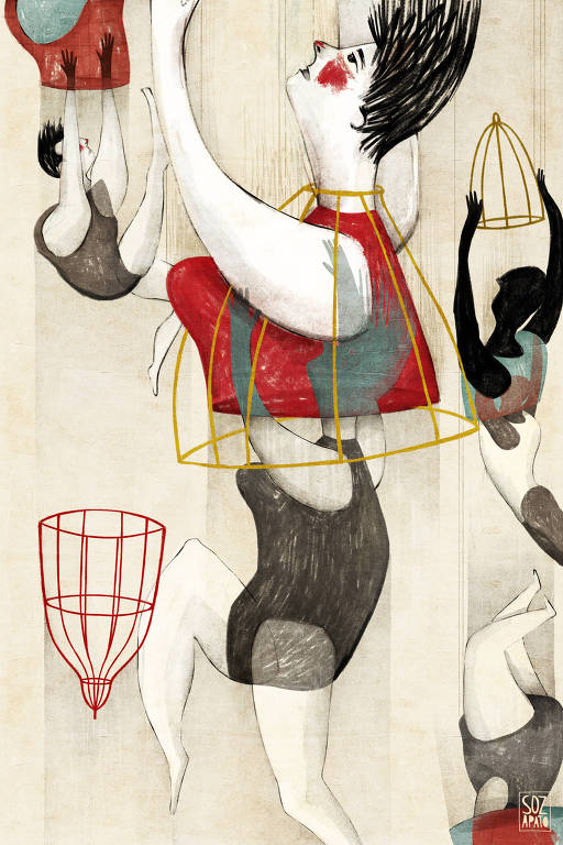 En la ilustración, cuatro mujeres están dibujadas en blanco y negro. Cada una sostiene una jaula de colores, de onde salen