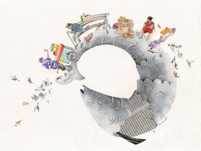 En una ilustración hecha con acuarela: personas encima de un gran pez. Hay un vendedor de helados, un hombre en un banco de plaza, una mujer con verdura en su bolsa, una jovem andando de espaldas con un carrito de mercado. Varios pájaros vuelan alrededor de todos