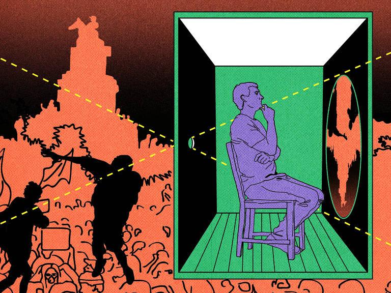 Na ilustração, um homem pintado de lilás está dentro de uma câmera escura verde. Ele está sentado em uma cadeira e olha para uma projeção do que está do lado de fora da caixa. A imagem que ele vê está invertida. Do lado de fora da caixa, em fundo laranja, estão manifestantes e a silhueta da estátua da praça Itália, em Santiago, no Chile.