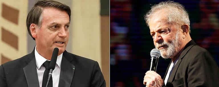 O atual presidente da República, Jair Bolsonaro, e o ex-presidente Lula
