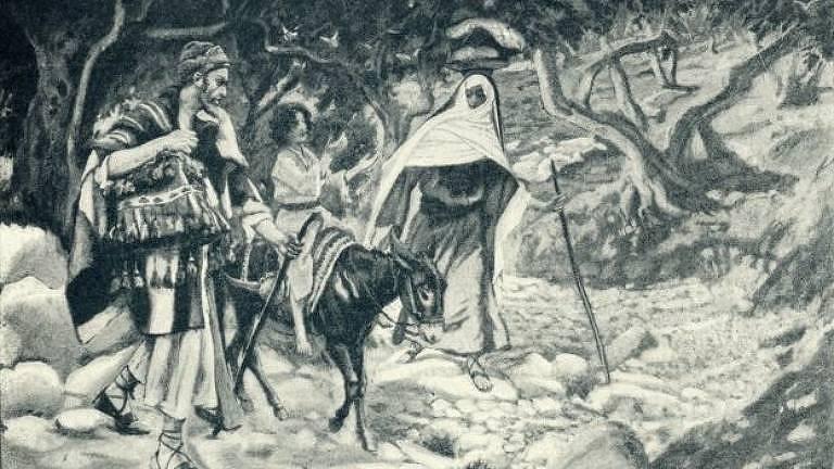 Segundo a tradição cristã, José e Maria viajaram para Belém pouco antes do nascimento de Jesus