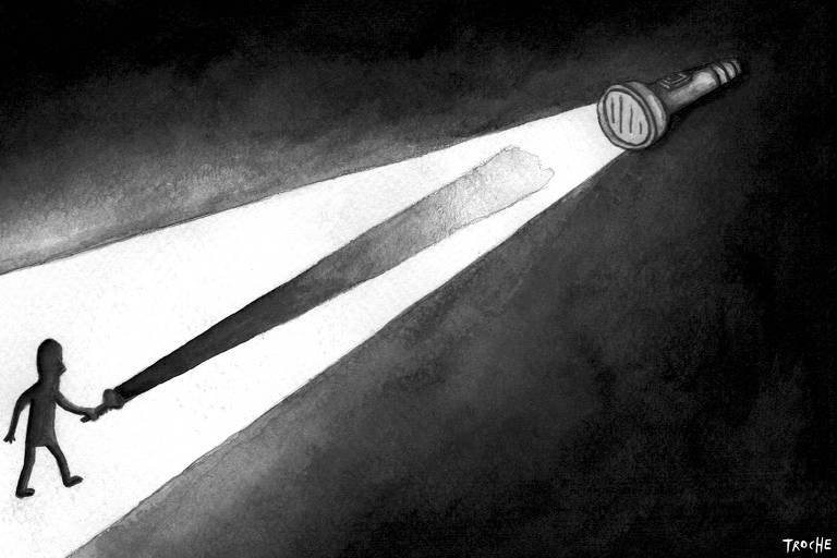 Ilustração Troche publicada na Folha no dia 25 de dezembro de 2019. Traz ao fundo escuro um homem segurando uma lanterna, a frente outra lanterna que ilumina o caminho.