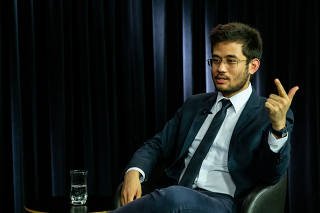 O deputado federal Kim Kataguiri (DEM-SP) durante entrevista